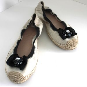 Shoes - Cute Summer Espadrille Flats With Embellished Bow